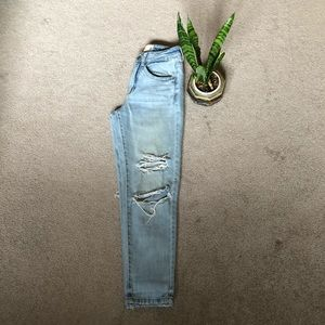 Garage light wash ripped and frayed jeans